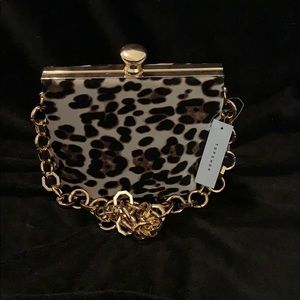 Leopard bag with chain strap